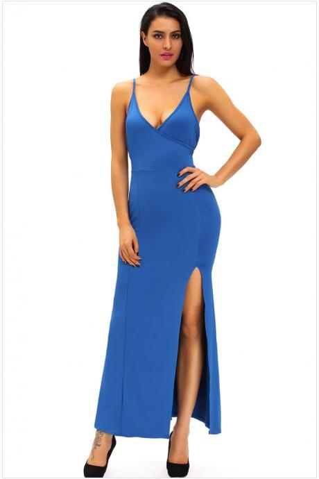 Sexy V Neck Strap Design Solid Asymmetric Long Dress - Blue