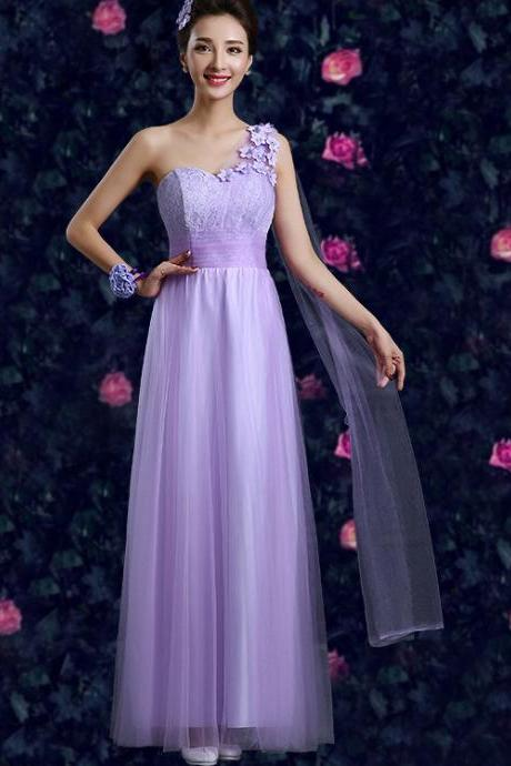 Purple Elegant One Shoulder Maxi Organza Evening Dress