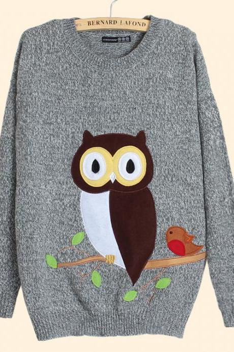 Cute Owl Pattern Women Sweater