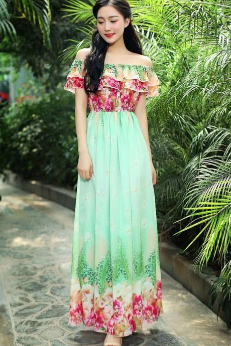 Fashion New Off the Shoulder Long Maxi Dress - Green