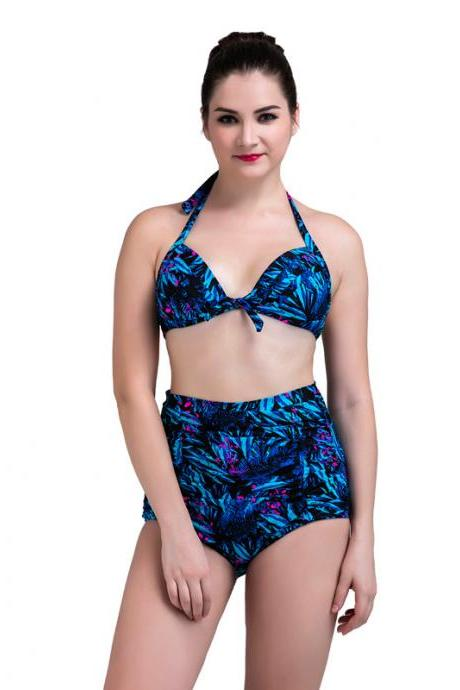 New Strap High Waist Printed Bikini