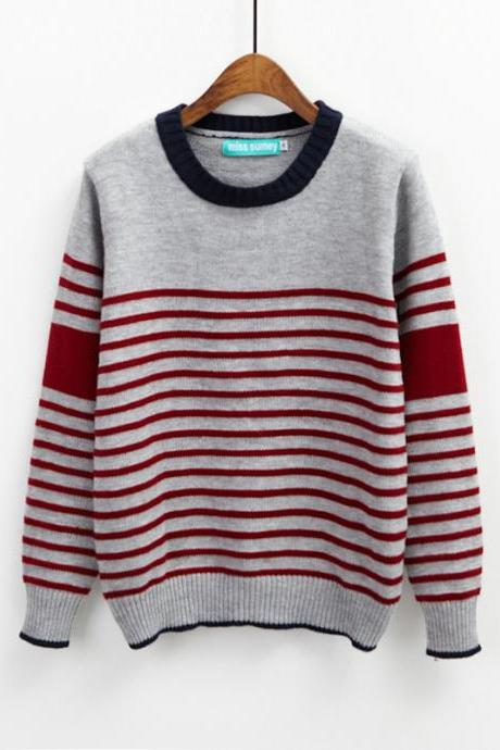 Women Stripe Long Sleeve Sweater For Autumn - Wine Red