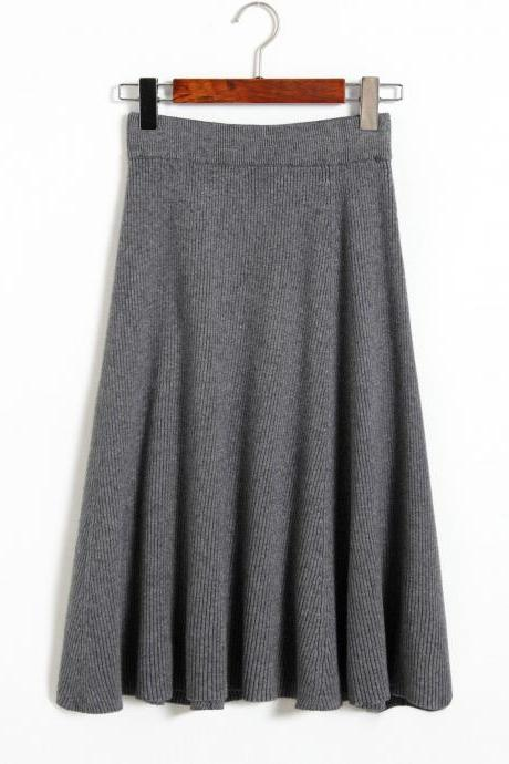 Autumn Winter Knitting skirts High Waist Slim Sexy Women Skirt - Grey