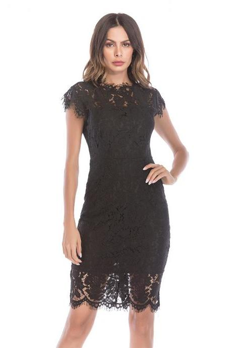 Vintage Solid Lace Sleeveless Tight Dress - Black