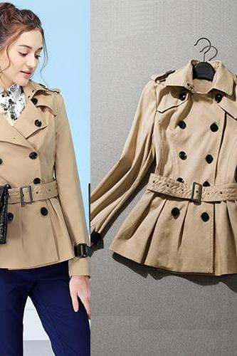 High Quality Desinger Double Breasted Khaki Trench Coat