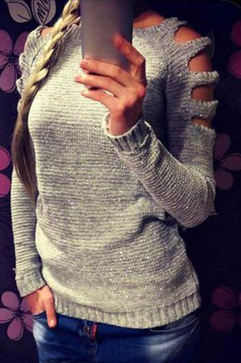 Good Quality Round Neck Long Sleeve Sweater(2 Colors)