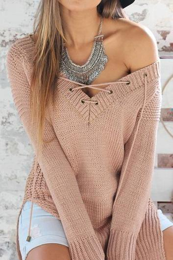 Sexy Double Slit V Neck Sweaters(2 Colors)
