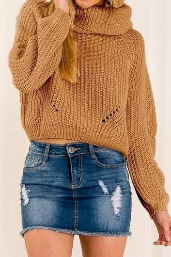Thick Knitted Turtleneck Long Sleeves Sweater