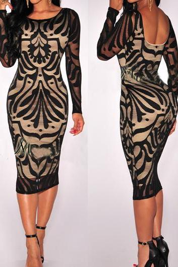 Sexy Cutout Back Long Sleeve Sheath Dress