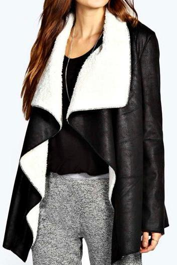 Cool Turndown Collar Long Sleeve Black Coat