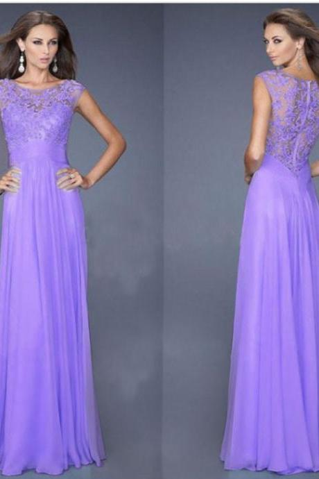 Elegant Sleeveless Lace Patchwork Maxi Chiffon Evening Dress - Purple