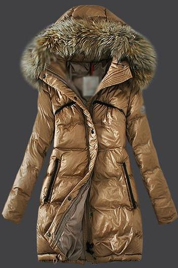 High Quality Hooded Collar Faux Fur Embellished Cotton Padded Coat