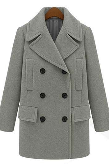 Casual Designer Turndown Collar Double Breasted Coat (2 Colors)