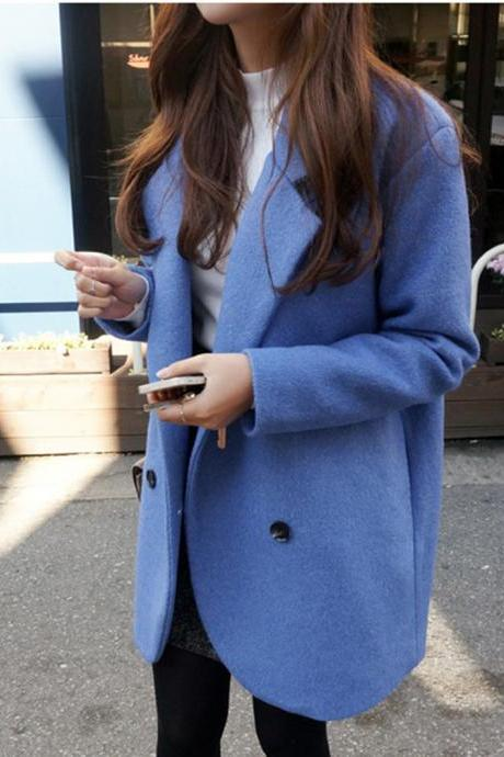 Fashion Blue Double Breasted Wool Coat For Women