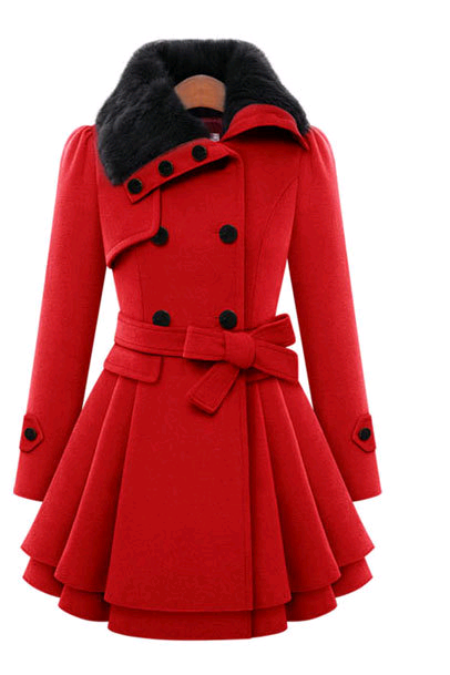 Fashion High Quality Women Double Breasted Woolen Coats (2 Colors)