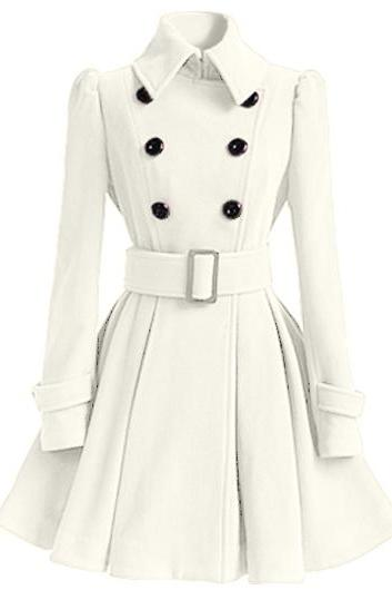 High Quality Long Sleeve Belted Coat - White