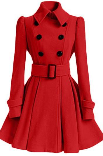 High Quality Long Sleeve Belted Coat - Red