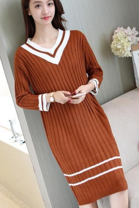 Fashion V Neck Long Sleeve Sweater Dress (3 Colors)