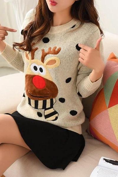 Cute Giraffe Polka Dots Pullover Sweater