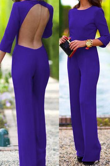 Free shipping Three Quarter Sleeve Open Back Straight Jumpsuit - Blue
