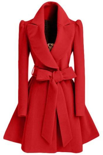 High Quality Belt Design Turndown Collar Coat - Red