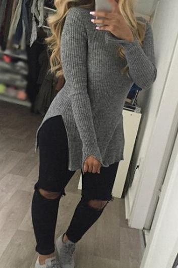 Sexy Long Sleeve Double Slit Dark Knitwear (3 Colors)