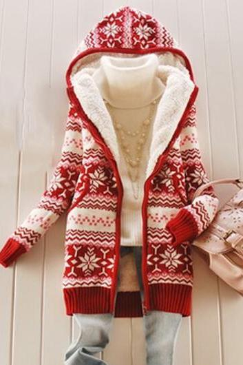 Fashion Pocket Design Red Hooded Collar Sweater
