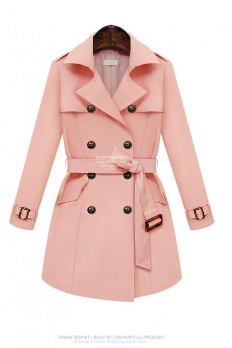 Fashion Pink Essential Double Breasted Trench Coat For Women