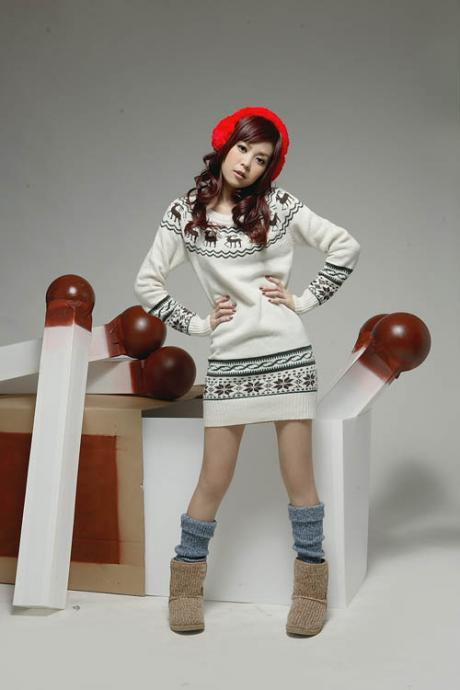 Hot Sale Fawn Print Long Sleeve Pullovers Sweater(2 Colors)