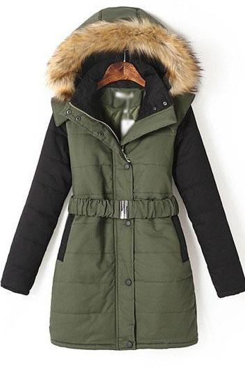 High Quality Army Green Long Sleeve Hooded Padded Coat