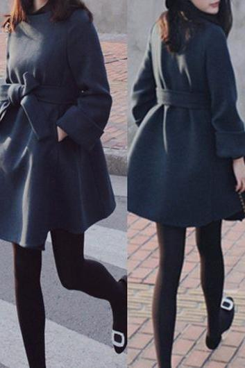 Fashion Woolen Long Sleeve Belt Embellished Coat - Navy Blue