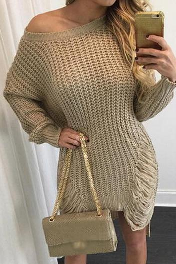 Fashion Long Sleeve Skew Neck Sweater Dress(4 Colors)