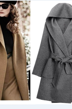 Wool Belted Wrap Coat Featuring Side Pockets in 3 Colors