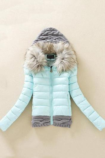 Fashion New Knitting Wool Splicing Hooded Winter Coat - Light Blue
