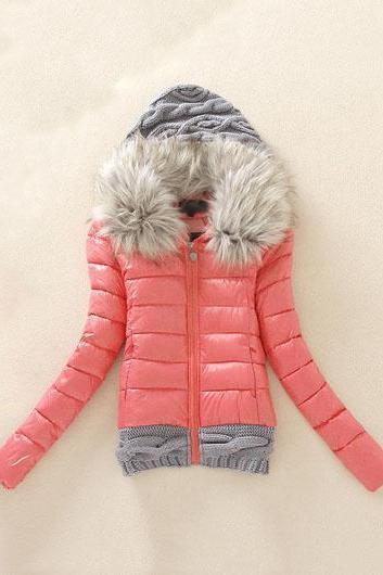 Fashion New Knitting Wool Splicing Hooded Winter Coat - Watermelon red