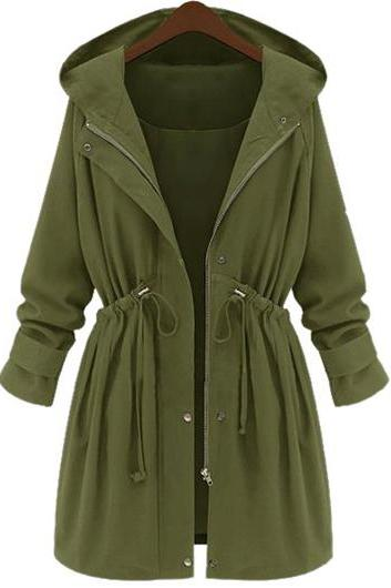 Casual Elastic Waist Hooded Trench Coat - Army Green