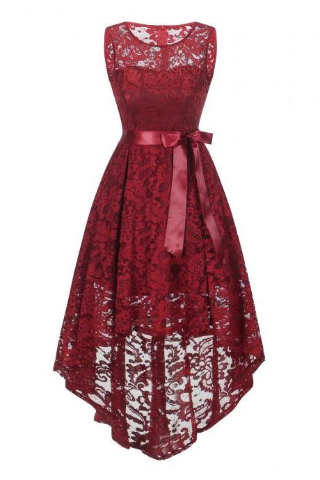 New Elegant Round Neck Lace Dress - Wine Red