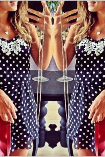 Free Shipping Cute Polka Dot Sleeveless Dress