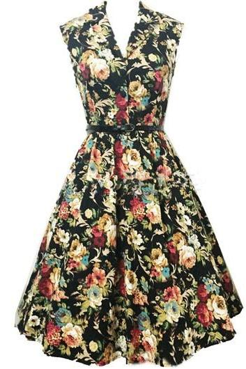 Vintage Flower Print Sleeveless Belt Design Black Dress