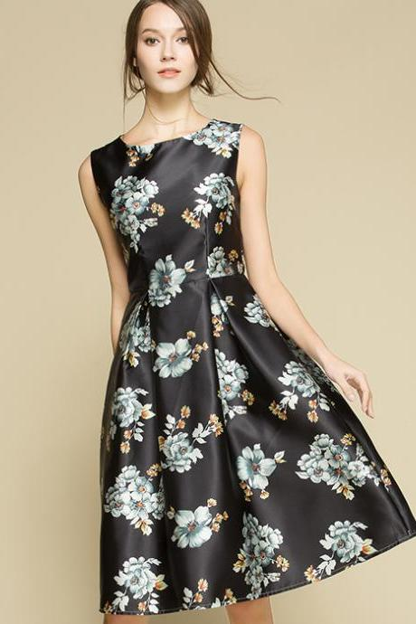 High Quality Fashion Floral Sleeveless Dress - Black