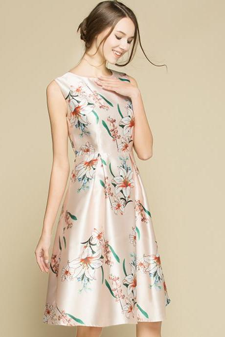 High Quality Fashion Floral Sleeveless Dress - Apricot