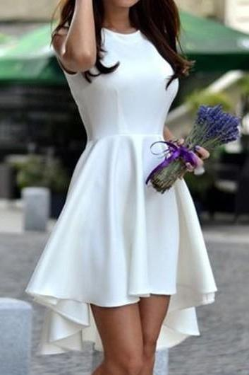 Casual Round Neck High Low Dress - White
