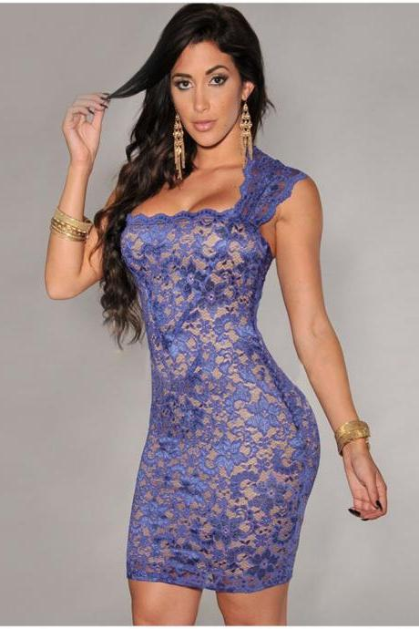 Sexy Hollow Design Round Neck Sleeveless Dress - Blue