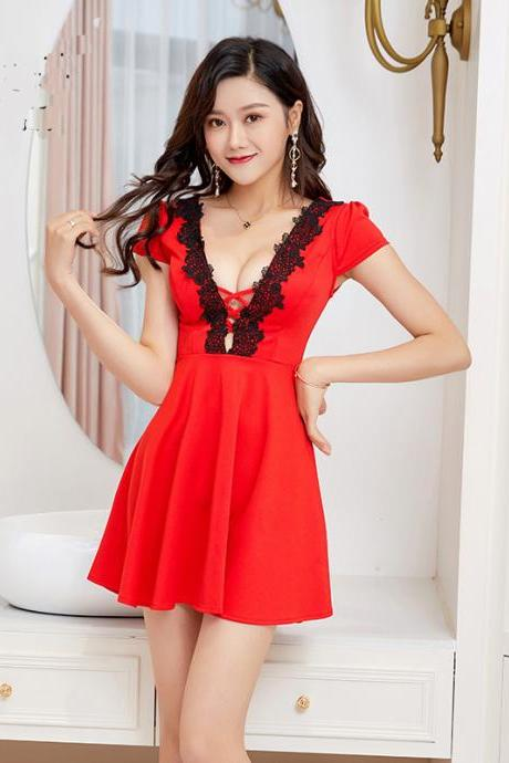 Fashion V Neck Short Sleeve Sexy Club Mini Dress - Red