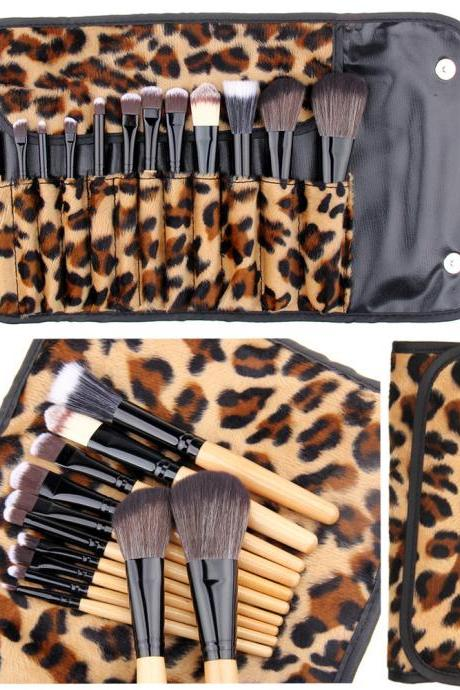 Designer 12 Pcs Leopard Makeup Brushes Set With Leather Bag