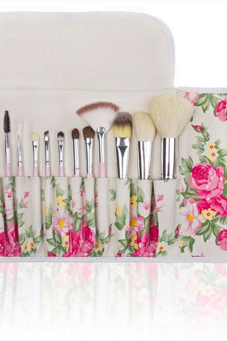 High Quality 12 wool makeup brushes set With Floral Bag
