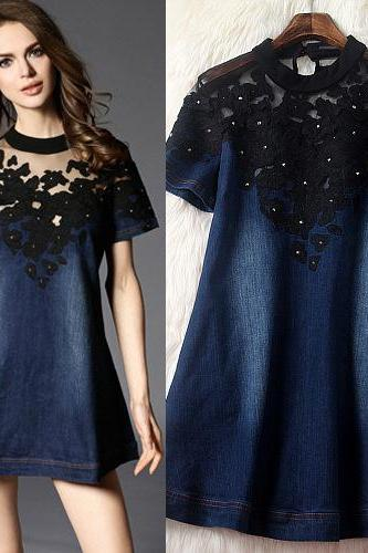 Luxury And Fashion Heavy Embroidered Gauze Short Sleeve Dress
