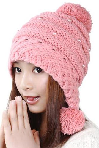 Free Shipping Lovely Female Winter Hat Knit Wool Cap - Pink