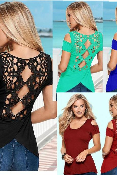 Women Lace and Cotton Hollow T Shirt for Women