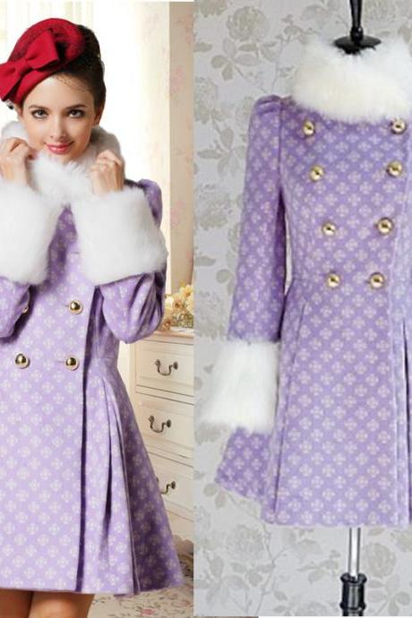 High Quality New Fur Collar Woolen Coat - Purple